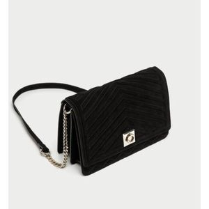 Split suede cross body bag